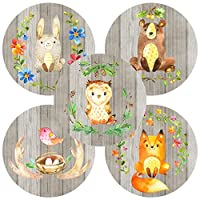 Woodland Forest Animals Sticker Labels - Birthday Baby Shower Enchanted Party Supplies - Set of 50