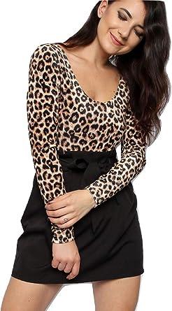 Momo&Ayat Fashions - Camisas - Animal Print - Redondo - Manga Larga - para Mujer Marrón Estampado De Leopardo S/M (36-38): Amazon.es: Ropa y accesorios