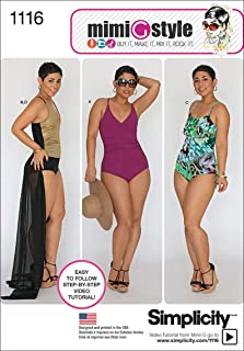 product image for Simplicity Patterns 1116 Misses' and Plus Size Swimsuits and Wrap Skirt, AA (10-12-14-16-18)