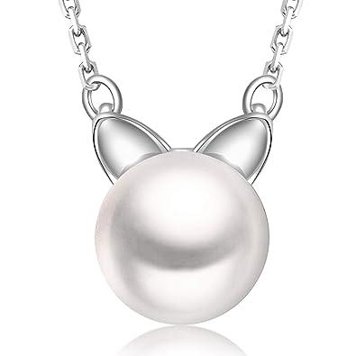 Ategazza Collar de Plata de Ley 925 Colgante de Gato Perla para Mujeres GC20: Amazon.es: Joyería