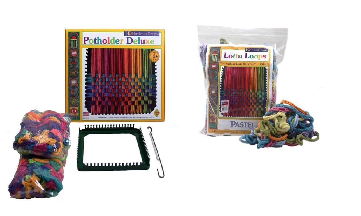 Harrisville Designs Potholder /& Pastel Lotta Loops Combo Kit Makes 10 Potholders