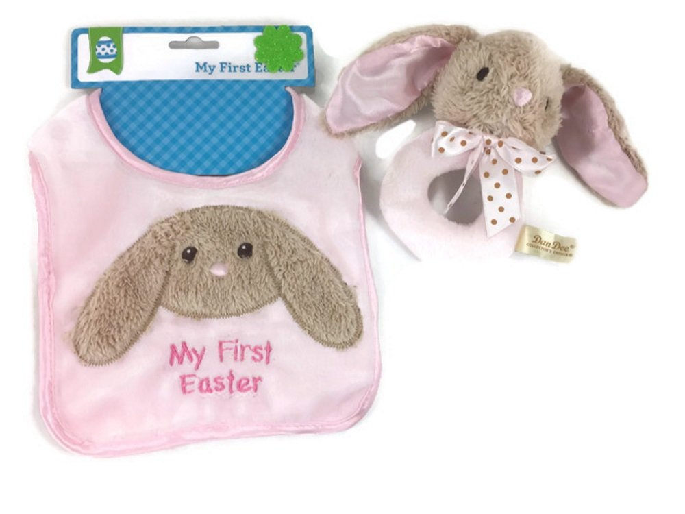 Baby Girls First Easter Keepsake Bundle: 2 Items; 1 Bunny Plush Washable Bib, 1 Soft And Cuddly Pink Plush Bunny Rattle