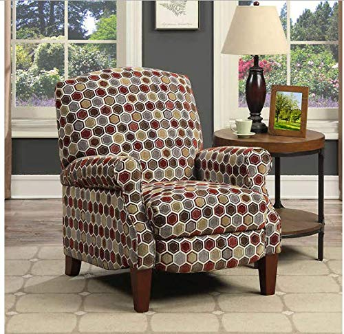 - Pushback Recliner Traditional Style Tailored Roll Arm Design in Multi-Colored Pattern