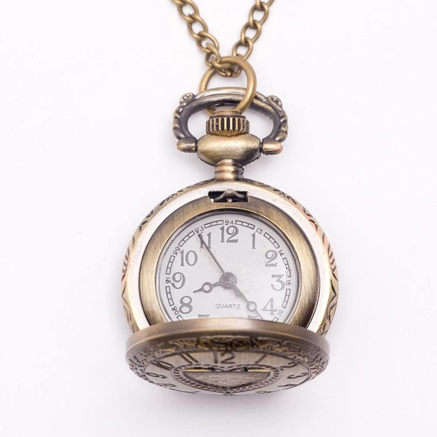 Amazon 81stgeneration womens brass vintage style love heart amazon 81stgeneration womens brass vintage style love heart pocket watch chain pendant necklace 78 cm jewelry aloadofball Image collections
