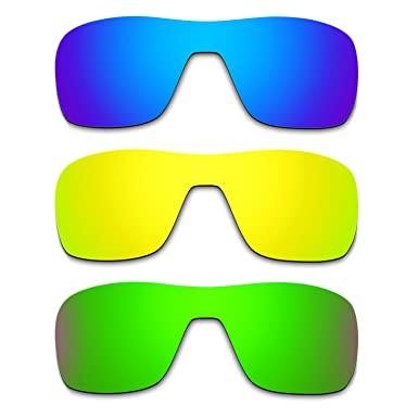 2c3c9a09ef Hkuco Mens Replacement Lenses For Oakley Turbine Rotor Blue 24K  Gold Emerald Green Sunglasses