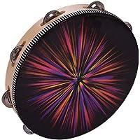 Honeytecs 10 Polegada Rdiant Tambourine Handbell Tambor de Mão de Madeira com Jingles de Fileira Única Cabeça de Tambor…