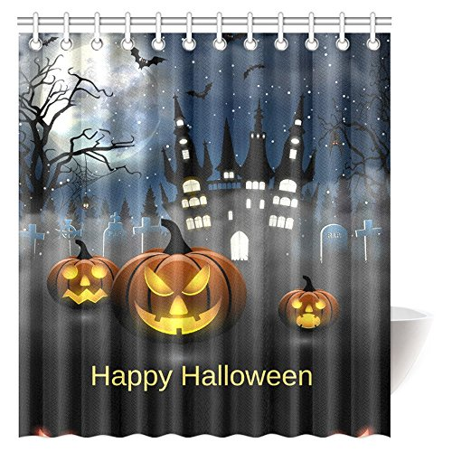 InterestPrint Forest Shower Curtain Decorations, Halloween Pumpkin in Enchanted Forest Mystic Twilight Party Full Moon Tombstones Spider Castle and Bats Shower Curtain, 66 X 72 Inches