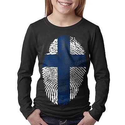 08&FD0 Finland Flag Fingerprint children Round Neck T-Shirt