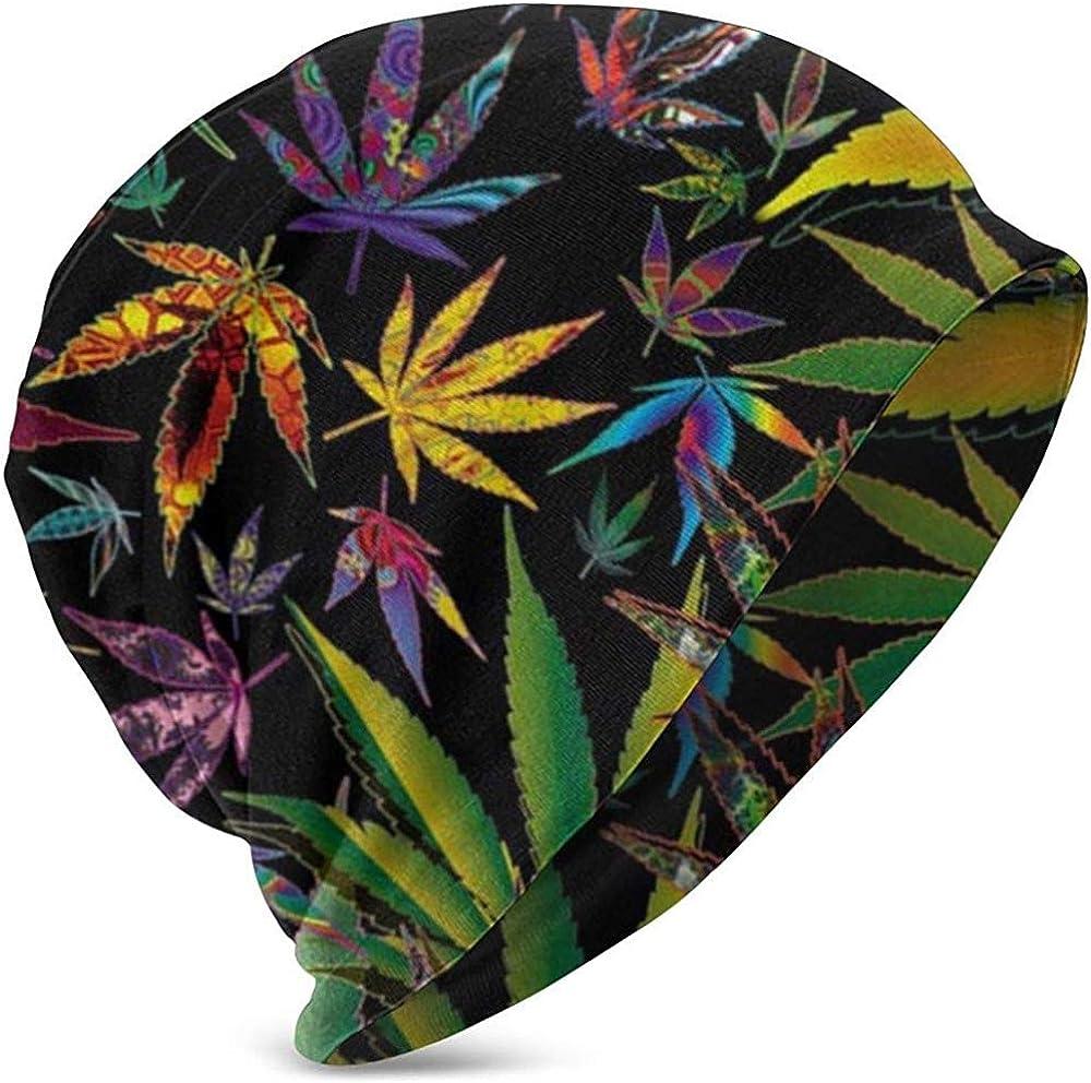 Gorros Beanie Trippy Pot Marihuana Cannabis Weed Hojas Impresiones 3D Slouch Skull Cap Hip-Hop Invierno Verano Sombrero Sombreros De Punto