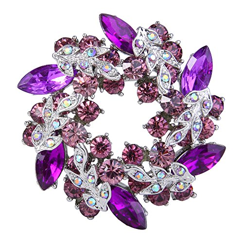 (EVER FAITH Austrian Crystal Wedding Flower Wreath Brooch Pin Purple w/Light Purple Silver-Tone)