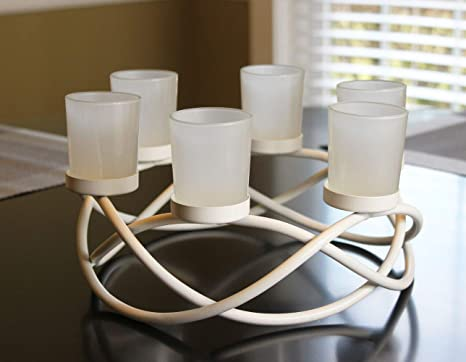 Amazon Com Seraphic Iron Circular Table Centerpiece Candle Holder White Frosted Votive 6 Cups Kitchen Dining