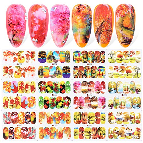 Macute Nail Decals Fall Theme Nail Art Stickers 12 Sheets Autumn Maple Tree Leaf Nails Supply Stickers for Women Manicure Wraps Decorations Thanksgiving Accessories Red Orange Yellow Color Designs