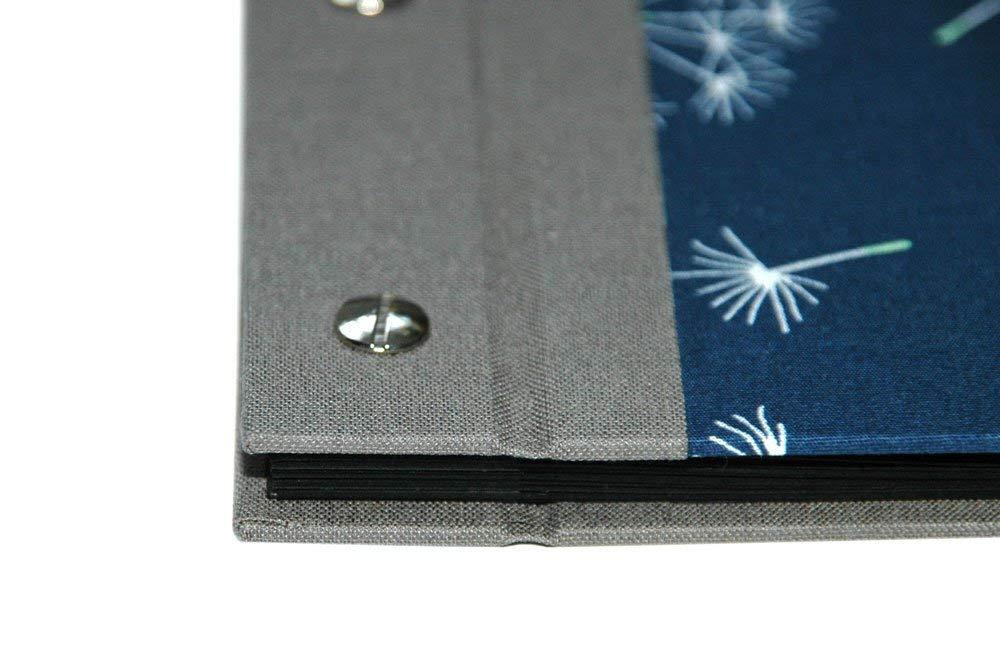 Fotoalbum Stoff Pusteblumen f/ür Bilder in 9x13 cm mit schwarzen Seiten blau
