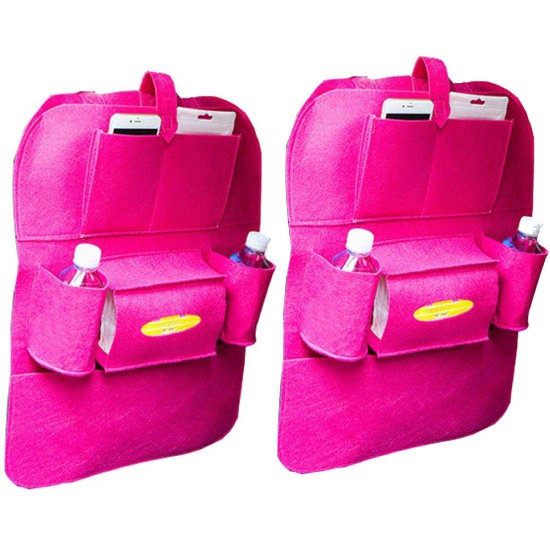 Cinhent Bag 2 PCS New Car Auto Seat Back Multi-Pocket Storage Bag, Waterproof Fabrics Organizer Holder Hanger Pouch, Lightweight & Large Capacity & Portable, Approx 56 CM, (Hot Pink)