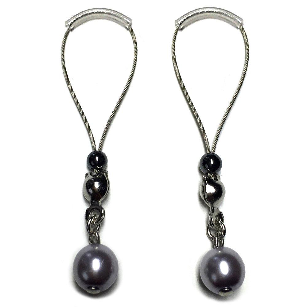 BoDivas Nipple Noose Czech Glass Pearl Non Piercing Body Jewelry Rings (Silver)
