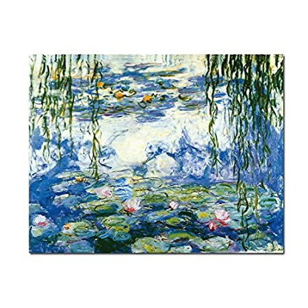 Wieco art water lilies by claude monet oil paintings flowers reproduction modern giclee canvas prints