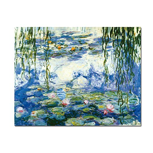Wieco Art - Water Lilies by Claude Monet Oil Paintings Flowers Reproduction Extra Large