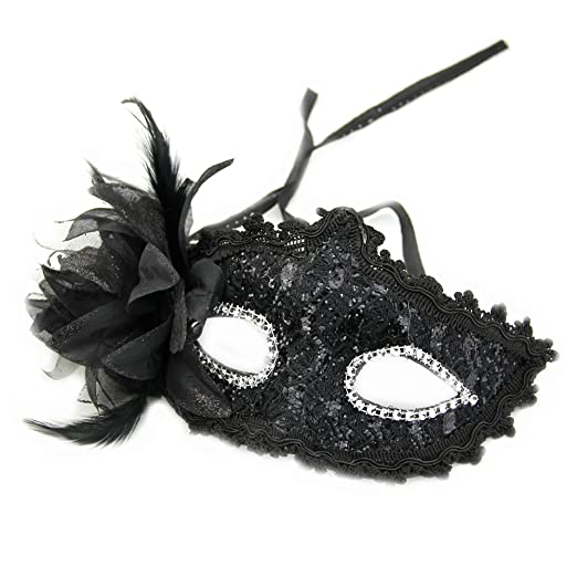Feamos Masquerade Mask Venetian Lace with Paillette Flower Feather for Ball  Party Pack of 5 ( feb02b22b4b5