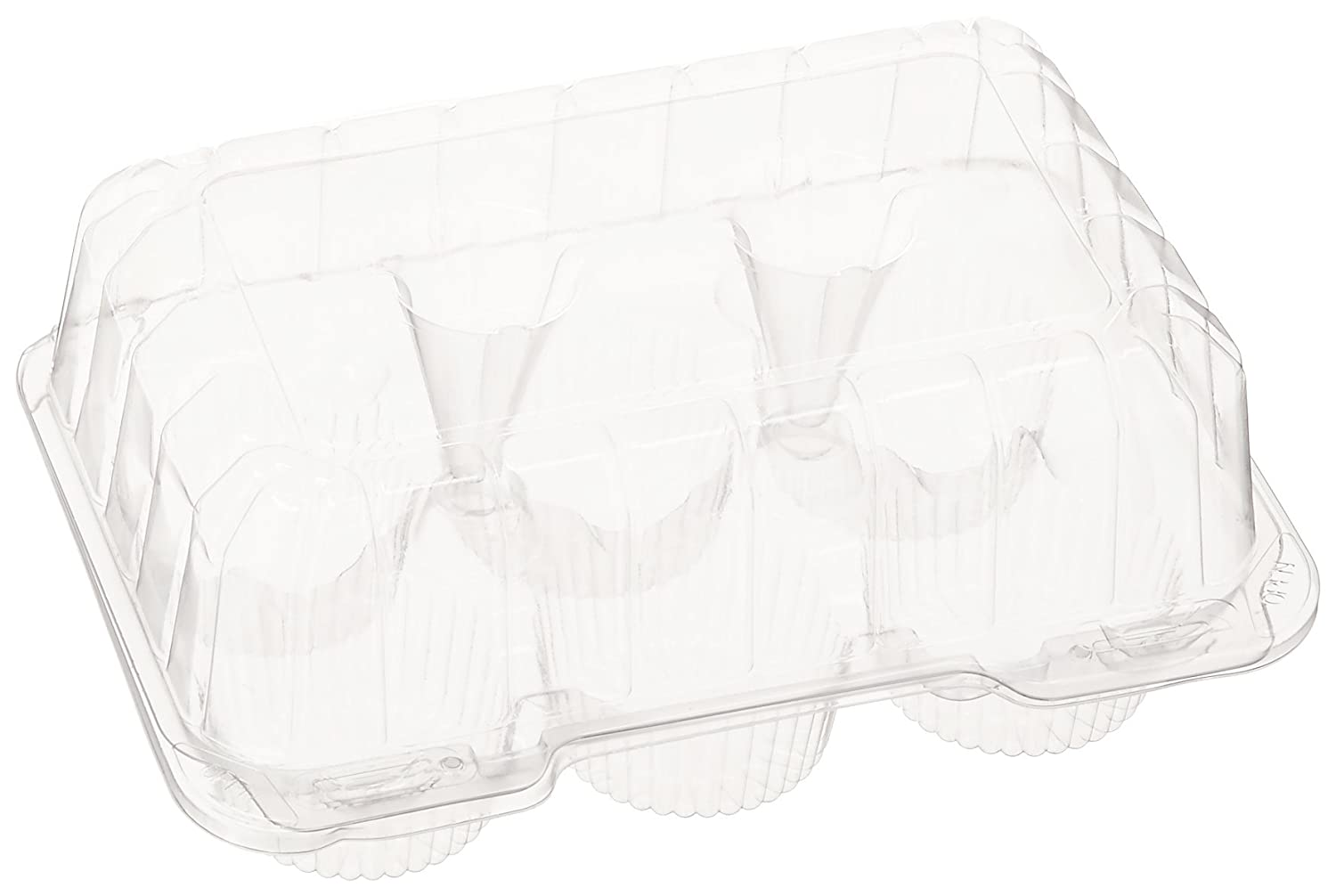 Oasis Supply PJP LBH-6656-12 6-Compartment Cupcake Container with Hinged Lid, Clear CakeSupply