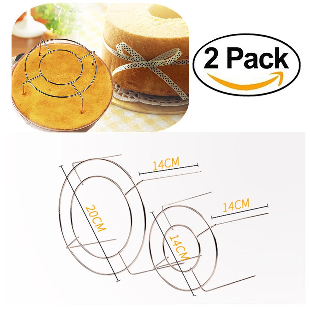 FashionMall 2 Pcs Stainless Steel Cake Cooling Rack Round,Cooling Stand with Four High Legs For Cooking Baking,7 Inch And 5 Inch