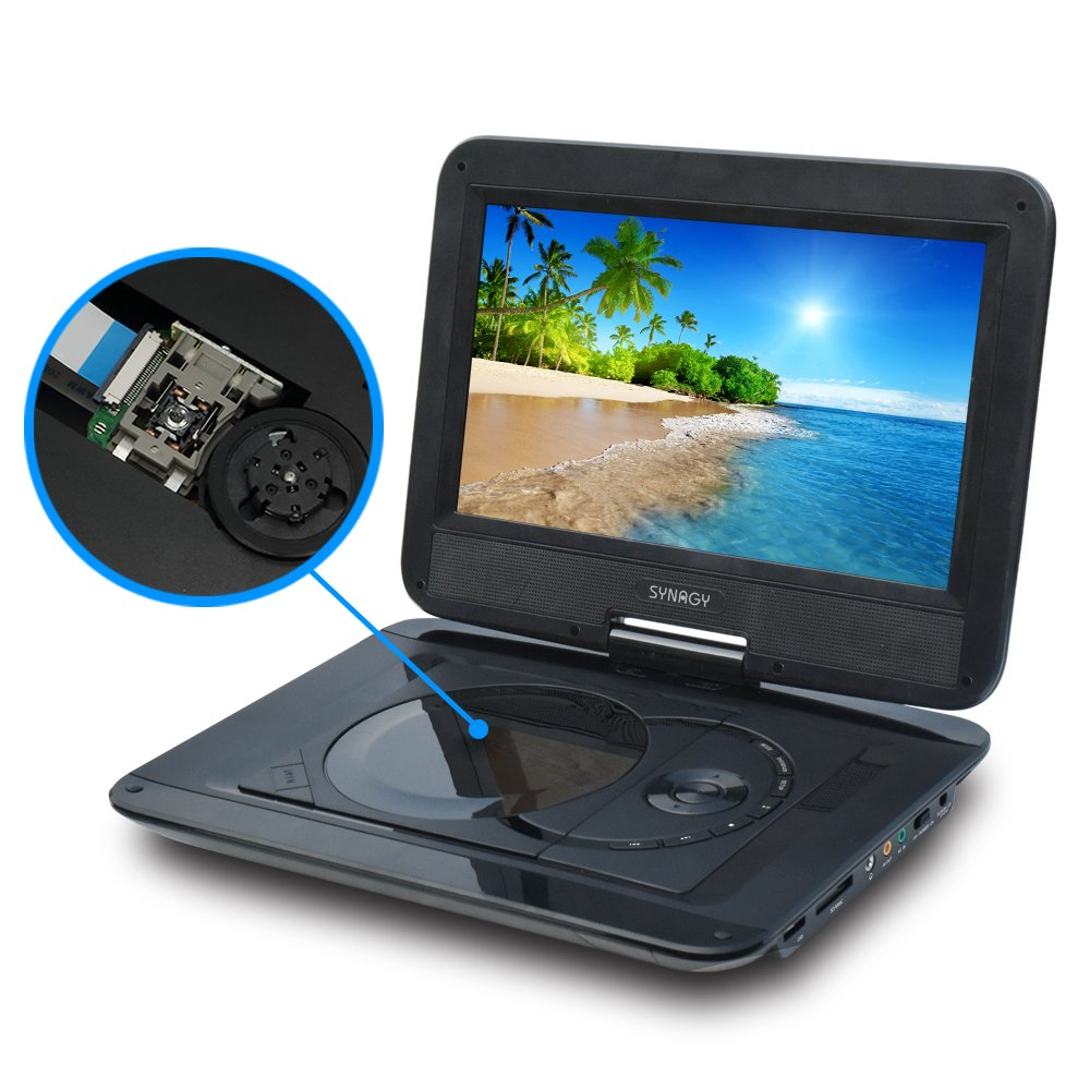 SYNAGY 10.1'' Portable DVD Player CD Player with Swivel Screen Remote Control Rechargeable Battery Car Charger Wall Charger, Personal DVD Player