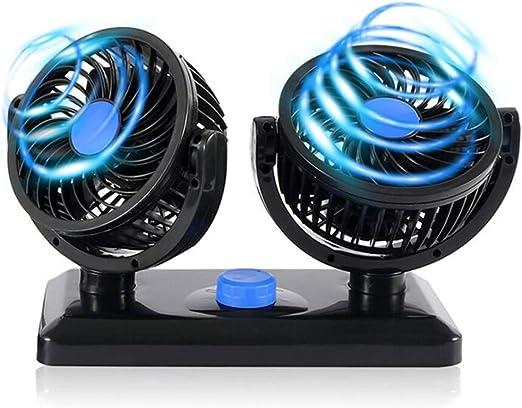 ASDF 12V Ventiladores USB Giratorio Doble Cabeza Coche, con 2 Velocidades Ajustables Ventilador Refrigeración Silencioso Potente, para Escritorio Camiones SUV RV Vehículos: Amazon.es: Hogar