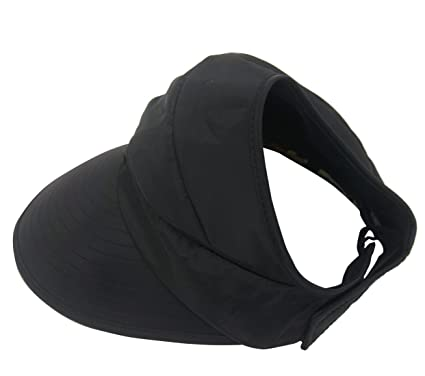 Roffatide Women s Sun Hat with Ponytail Hole Outdoor Sunscreen Visor Wide  Brim Black 566413092c9a