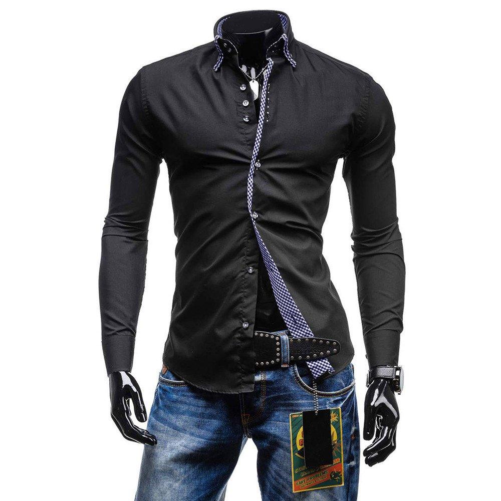 Kemilove Men's Autumn Casual Formal Solid Slim Fit Long Sleeve Shirt Top Blouse