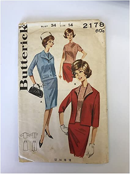 Amazon Com Butterick 2178 Misses Suit Coordinates Jacket Top And Slender Skirt Sewing Pattern Vintage 1950s Size 12 Bust 32 Arts Crafts Sewing