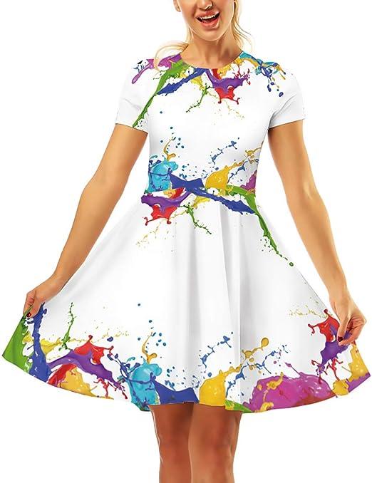 Vestiti Colorati Eleganti.Vestiti Donna Festivo Estivi Eleganti Moda Gonna Pieghe Colorati