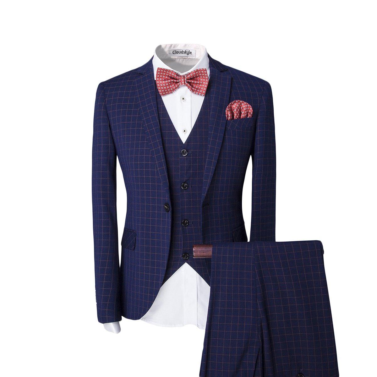 Men's One-Button Designer Luxurious Suits Plaid Tuxedos 3-Piece Set (Medium, Navy) by Cloudstyle