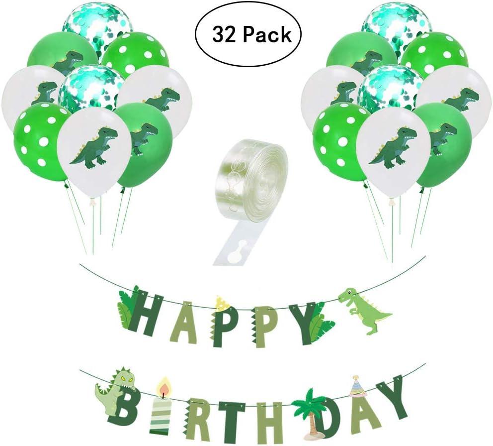Yuccer 32 Piezas Kit de Decoracion de Fiesta de Dinosaurios, 30 Piezas Globo Dinosaurio con 1 Piezas Pancarta Feliz Cumpleaños y 1 Piezas Cinta para Globos Adornos Fiesta Cumpleaños