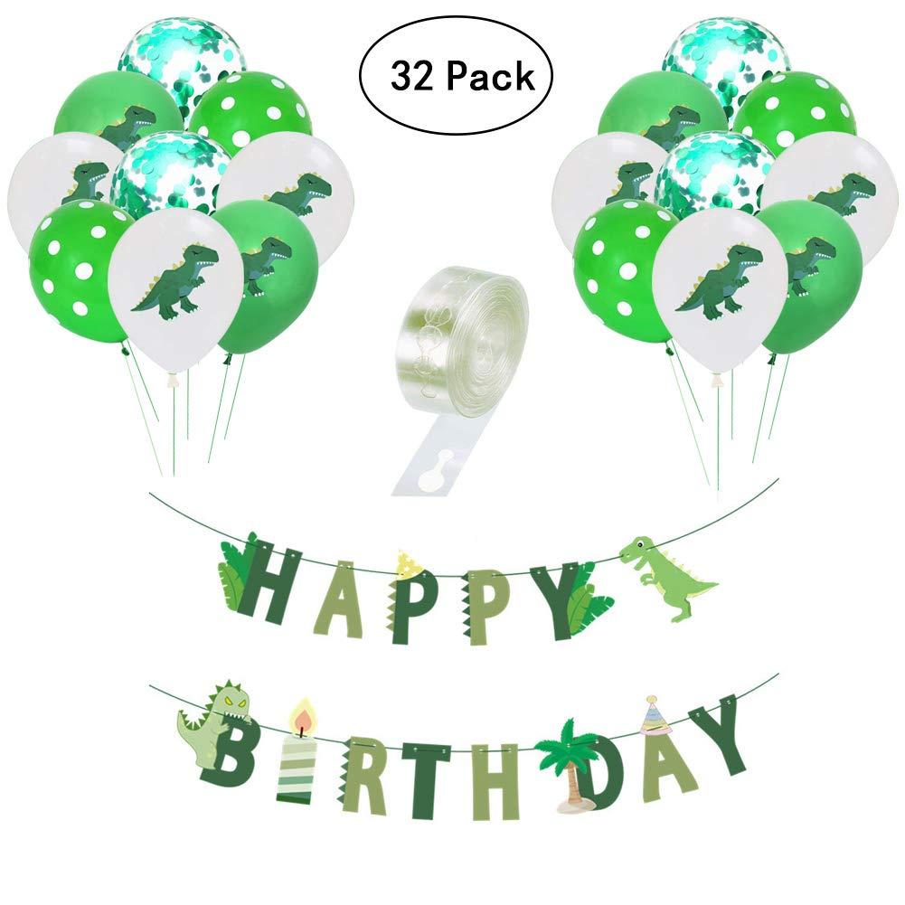 Yuccer 32 PCS Dinosaur Party Supplies, 30 PCS Dinosaur Balloons with a Dinosaur Birthday Banner and 1PCS Balloon Arch Strip Dinosaurs Birthday Party Decorations Set