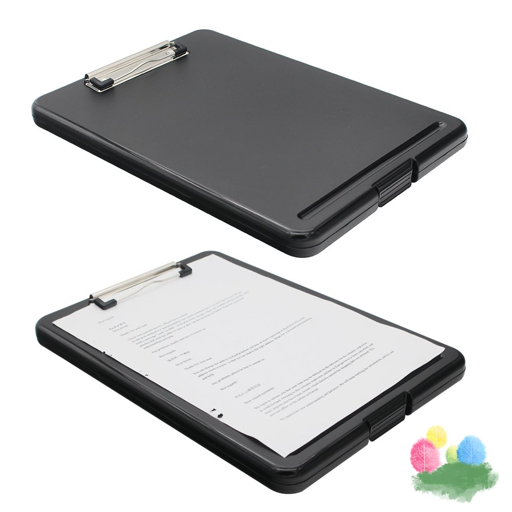 Slim-case Plastic Clipboard with Storage, Lightweight Polypropylene Storage Clipboard for Students, Nurse, Professionals and School Supplies (Black)