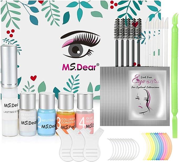 MS.DEAR Kit de Permanente de Pestañas, Profesional Lifting de Pestañas Permanente Herramientas de Maquillaje Curling de Pestañas, Duradero y Natural ...