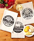 Two's Company Artisan Market Cheese Label Dish Towels, Set of 12