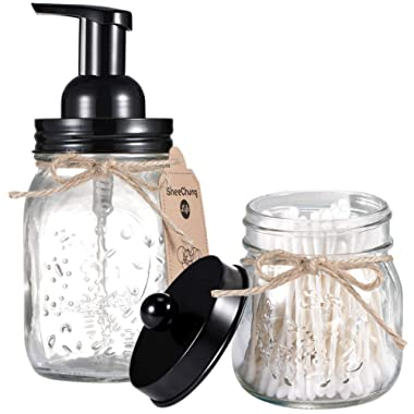 SheeChung Mason Jar Bathroom Accessories Set - Includes Mason Jar Foaming Hand Soap Dispenser and Qtip Holder - Rustic Farmhouse Decor Apothecary Jars Bathroom Countertop and Vanity Organizer/Black
