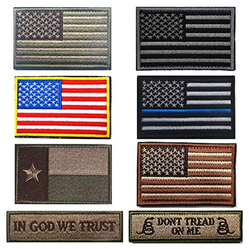 Lightbird 8 Pieces Tactical Patches,Military Morale Patches, US Flag Patch,100% Embroidered Patch (Brown)