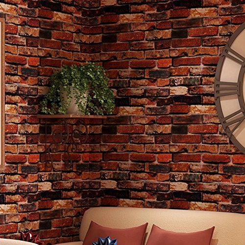 Yancorp yancorp waterproof self adhesive wallpaper rust for Black 3d brick wallpaper