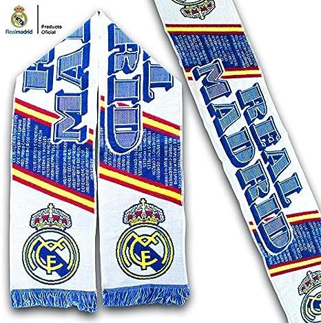 Bufanda Real Madrid – Blanca con textos alusivos y Bandera de España – Producto Oficial: Amazon.es: Deportes y aire libre
