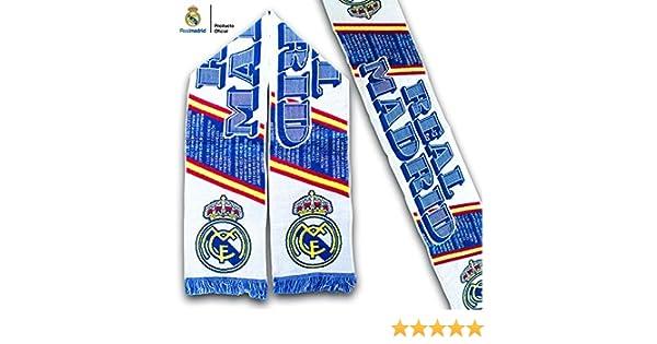 Bufanda Real Madrid – Blanca con textos alusivos y Bandera de ...