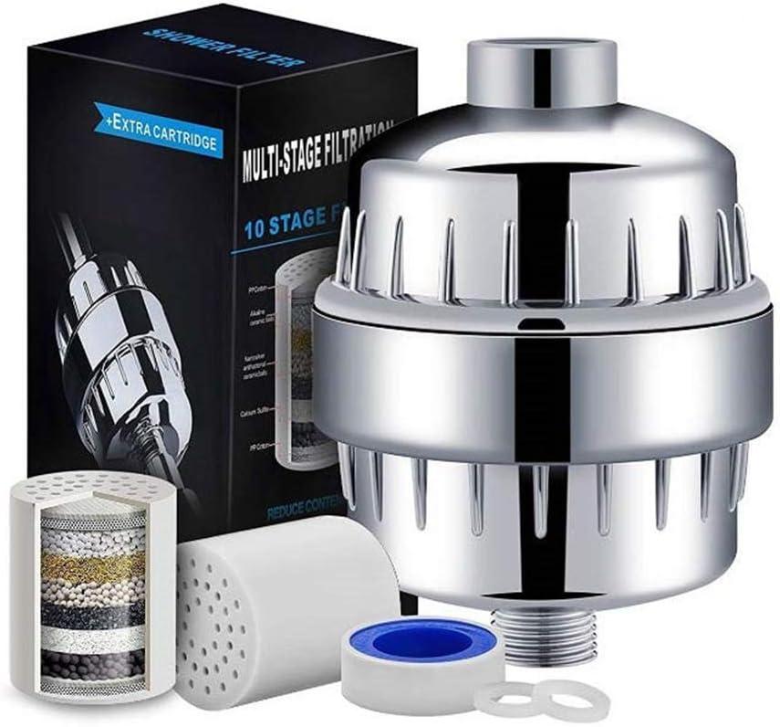 reduce las impurezas suaviza el agua dura Cabina Home Filtro de agua de ducha de 15 etapas elimina los metales pesados de cloro con 2 cartuchos reemplazables