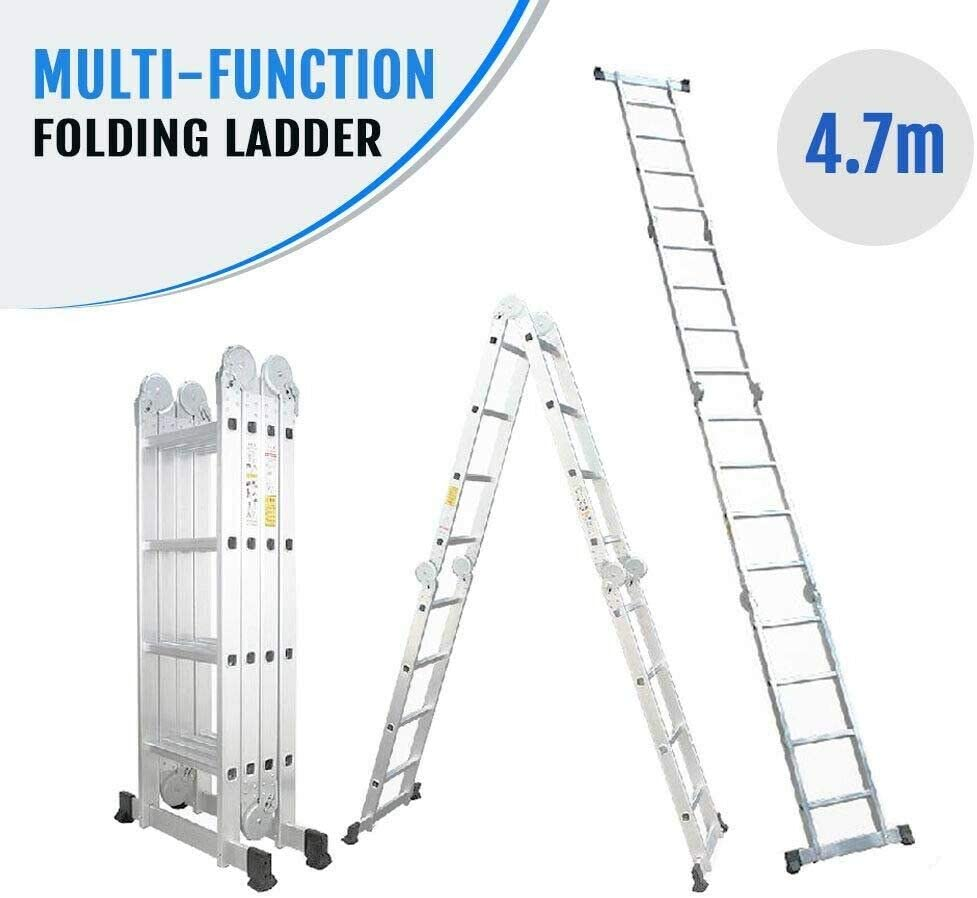 Escalera multiusos plegable de 4,7 m, con bandeja de herramientas para trabajos en interiores y exteriores, carga máxima de 150 kg: Amazon.es: Bricolaje y herramientas