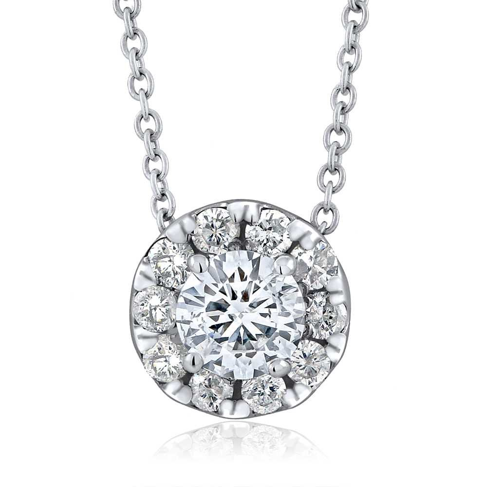 IGI Certified 0.50 cttw Round Brilliant Diamond 14K White Gold Halo Style Pendant with 16'' 14K White Gold Chain by Gem Stone King