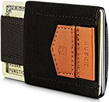 HUSKK Minimalist Slim Wallet - 10 Card Holders - Cash & Keys - Black [ECSC-BB]