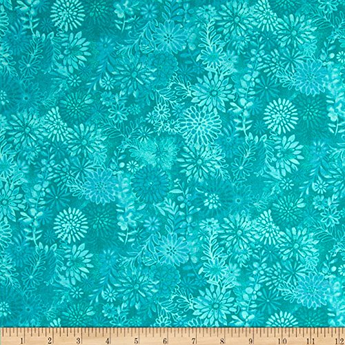 Packed Floral Batik Turquoise Fabric product image