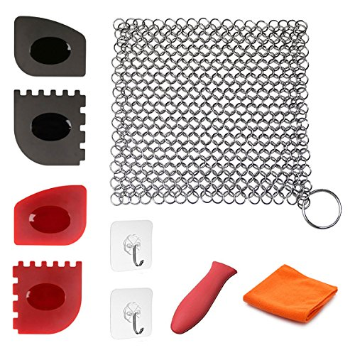 Cast Iron Cleaner 9 Packs Miker XL 7 x 7 Best Quality 316L Stainless Steel Chainmail Scrubber for Skillets Cast Iron Pan With Silicone Hot Handle Holder+2 x Pan Scraper+2 - Over Cast Hang 2