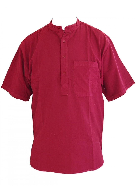 Wine Short Sleeved Grandad Collarless Shirt Cotton Sizes Small to 2XL