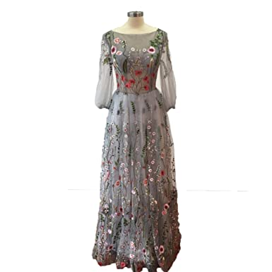 WDH Dress Silver Embroidered Prom Dress Three Quarter Sleeves Evening Dress 16