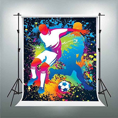 GESEN Oil Painting Backdrop 5X7ft Soccer Colored Abstract Painting Background Themed Party Backdrop You Tube Background Video Studio Props TMGE213